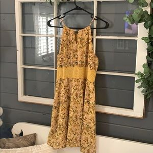 Mustard flower and lace dress